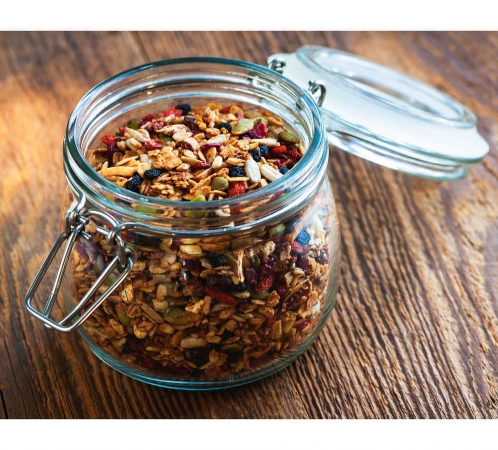 healthy oatmeal granola nuts seeds fruit
