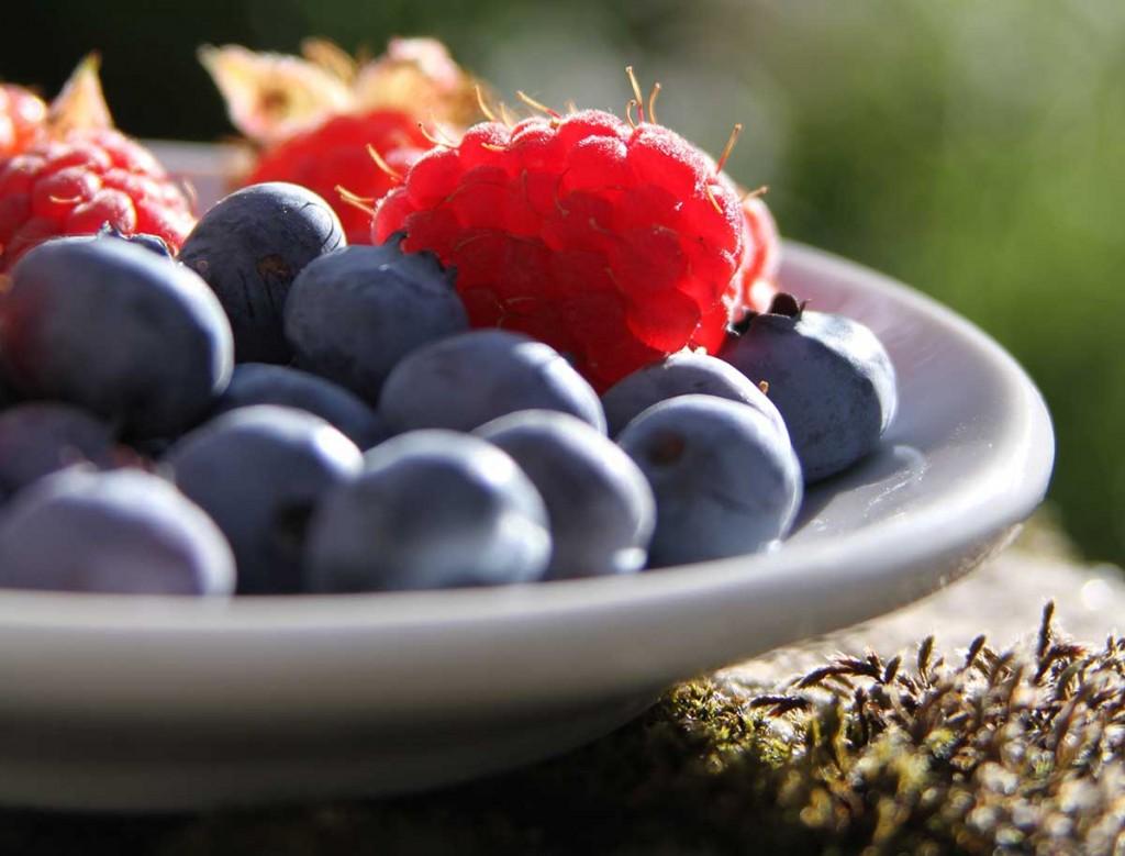 blueberries raspberries plate