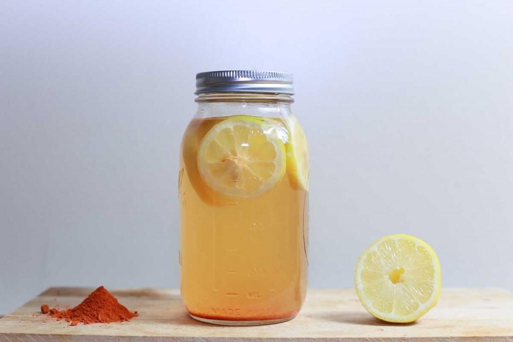Lemon water jar tea mason glass jar cayenne