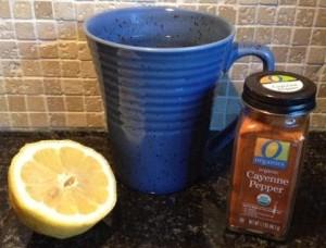lemon water cayenne pepper shaker blue mug