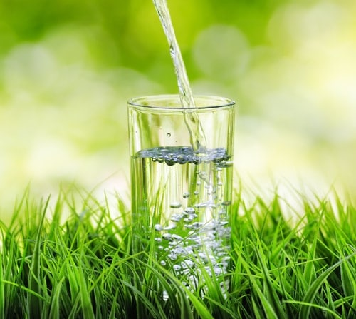 Water pouring glass green grass