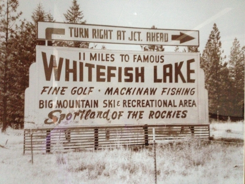 Vintage Sign Whitefish Lake Montana Golf Ski