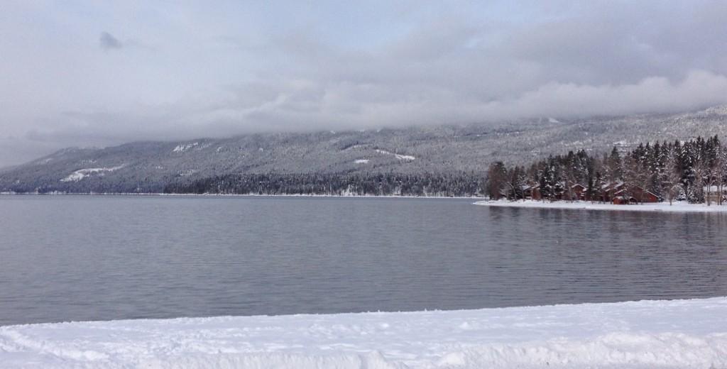 Whitefish Lake in Winter Montana Snow
