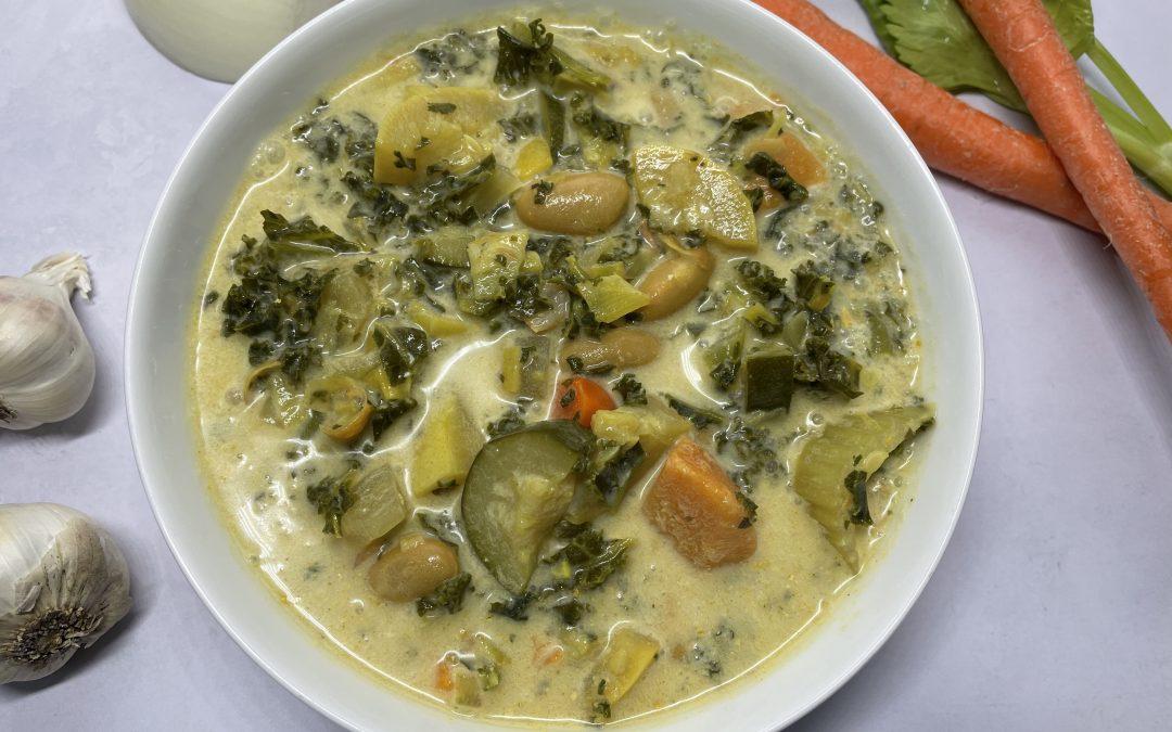 Hearty Kale Zucchini Sweet Potato Bean Soup