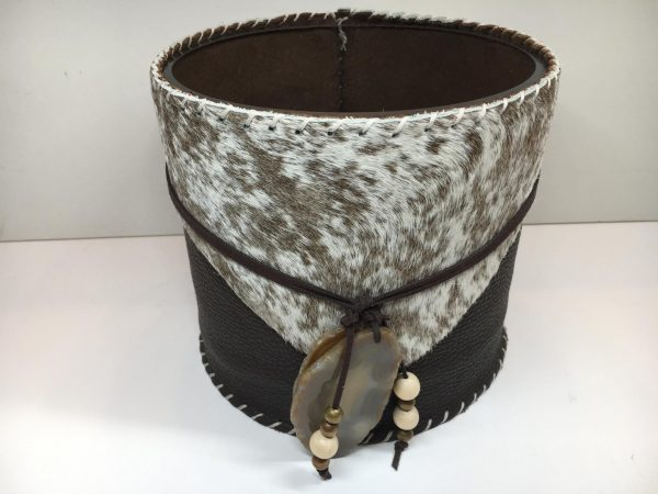 ice bucket wine chiller leather cowhide fur